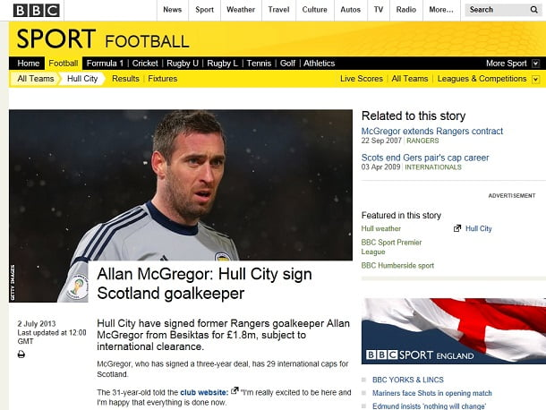 Allan McGregor Transfer Hull City