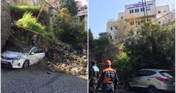 Beşiktaş'ta okul duvarı çöktü!